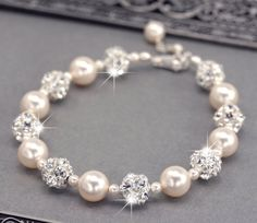 Pearl Wedding Bracelet, Swarovski Pearl and Rhinestone Bridal Bracelet, Wedding Jewelry for the Bride, White or Ivory Pearls
