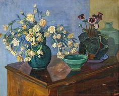 Axel Nilsson, Blommor mot blå bakgrund