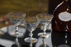 Vintage Etched Wine Liquor Glasses, Set of 6, Mad Men, Vintage Martini glasses, Floral Port Wine Glasses, Small Martini Glasses, Mad Men by Antiquevintagefind on Etsy