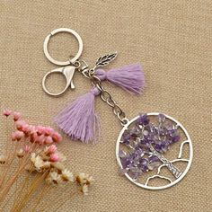 Amazon.com: Bead Chips Nature Life Tree Keychain Boho Tassels Leaf Key Ring For…