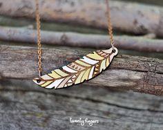 Wood native pendant feather laser cut by TheTwentyFingers on Etsy