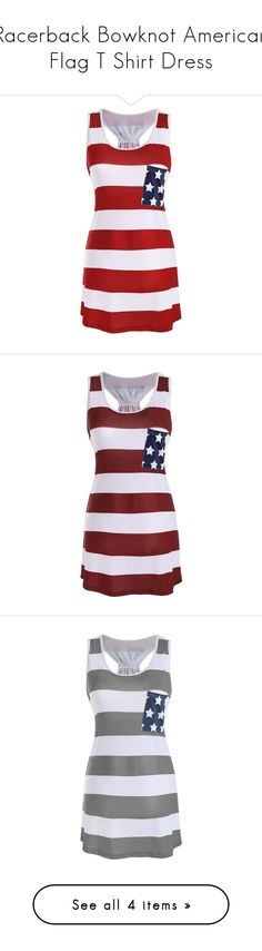 """""""Racerback Bowknot American Flag T Shirt Dress"""" by rosegal-official ❤ liked on Polyvore featuring dresses, american flag dress, tee shirt dress, american flag t shirt dress, red racerback dress, sleeveless dress, racerback dress, red sleeveless dress, american flag print dress and racer back dress"""