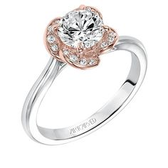 Josephina, Contemporary two tone solitaire diamond engagement ring with pave diamond accents within rose gold floral halo