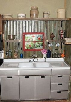 small rustic kitchen makeover diy home decor how to kitchen backsplash kitchen design painted furniture repurposing upcycling rustic. Metal Kitchen Cabinets, Kitchen Backsplash, Diy Kitchen, Kitchen Furniture, Rustic Furniture, Vintage Kitchen, Painted Furniture, Kitchen Sinks, Kitchen Ideas