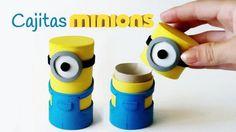 Cajitas de los Minions hechas con tubos de cartón recicladas