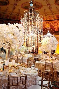 Stunning & opulent event design - dripping in orchids from the chandelier to the centerpieces / At Breakers Palm Beach Florida <3