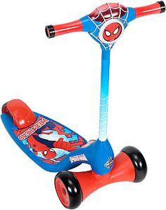 He'll be executing tricks like his favorite superhero on this Huffy® Marvel® Spider-Man® Lights & Sounds scooter! Designed with 3 wheels and an extra-wide, non-slip deck, it's the perfect scooter to keep your little one safe. Best of all, an electronic game unit is built right into the handlebar; he'll have a blast playing Simon Says, Follow the Leader, or Sing-a-Long, all with crime-fighting sounds and fun flashing lights.