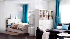 Ikea   A Living Space Divided Into A Bedroom And Living Room By A Bookcase