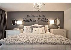 Love the color of the wall and the size of the lettering........ Just the design overall of this master bedroom  A Mr. and Mrs. would be beautiful as well www.facebook.com/VinylHomeDecor