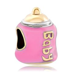 Pack of 10 Beads Wholesale  Baby Feeding Bottle European Charm Bead Fits Pandora Bracelet >>> You can find out more details at the link of the image.