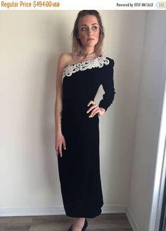 Black Off Shoulder Dress, One Shoulder, Black Velvet Dress, Black Satin, 1990s Dress, Flaws And All, Princess Seam, Vintage Black, Vintage Dresses