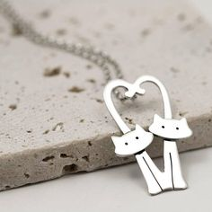Kitty Cat Necklace with Heart Tails Sterling Silver Cat