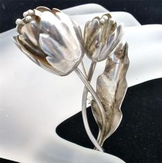 Damasco Gallegos Vintage Brooch Sterling Silver Taxco Tulip Pin Signed DG Flower | eBay
