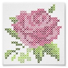 #cross #stitch #rose #wall #tape