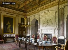 Houghton Hall - The 18th century Marble Parlour was designed by William Kent and is dedicated to Bacchus, the god of wine. Located in King's Lynn Norfolk, England.