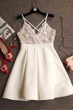 Spaghetti Strap Lace Top Short Homecoming Dresses,Little White Dresses,apd2561
