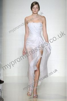 floor-length strapless white chiffon A-line fashion prom dress  $ 265.00