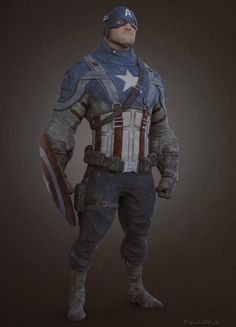 Artist Andres Naranjo created this very cool, gritty piece of digital art of Captain America. The character design seems to have been inspired by the animation style of Pixar and the uniform used in Captain America: The First Avenger.