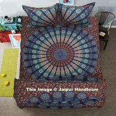 Peacock mandala 4pc bedding set with comforter cover bed cover and pillows