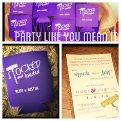 Custom invitations and koozies for Stocking the Bar Shower