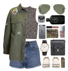 """Untitled #623"" by clary94 ❤ liked on Polyvore featuring H&M, Topshop, Sans Souci, Converse, Monki, Daniel Wellington, Christian Dior, Yves Saint Laurent, Ray-Ban and NYX"