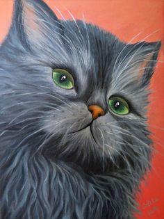 INSTANT DOWNLOAD Oil Painting digital file. Cat. by OrlikArt