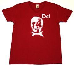 DEAD MANS PARTY  -100 % cotton short sleeve v neck   -Crimson white print  PRICE: $30.00    http://www.druedun.com/store/44/29/DEAD-MANS-PARTY.html