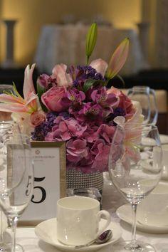 #purple #wedding #centerpiece #bride
