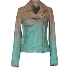S.w.o.r.d. Jacket (6 385 ZAR) ❤ liked on Polyvore featuring outerwear, jackets, turquoise, print jacket, biker style leather jacket, biker jacket, genuine leather jackets and green zip jacket