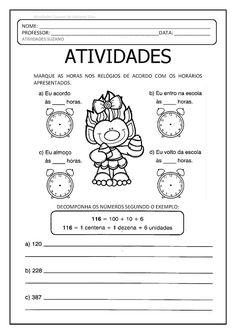 Trabalhando representação (reforço), Horas e fração (EM PDF) - Atividades Adriana