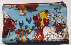 Alice in Wonderland Zipper Pouch: Cheshire Cat, Mad Tea Party.