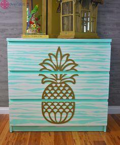 tropical home decor Pinapple Room Decor, Pineapple Room, Gold Pineapple, Tropical Bedrooms, Tropical Home Decor, Tropical Interior, Interior Plants, Interior Design, Ikea Malm