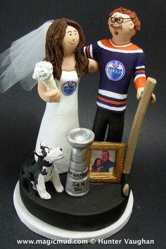 Edmonton Oilers Hockey Wedding Cake Topper, Edmonton Oilers Wedding Anniversary Gift, Groom with Goatee Wedding CakeTopper, Hockey Caketopper – Artsupplies Hockey Wedding, Wedding Fans, Themed Wedding Cakes, Dream Wedding, Wedding Anniversary Gifts, Anniversary Pictures, Gift Wedding, Wedding Things, Wedding Stuff