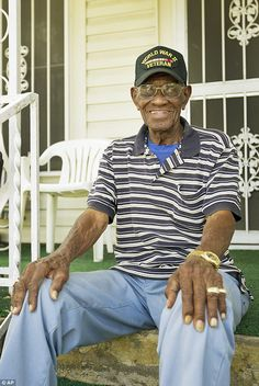 Oldest living veteran: Richard Overton is seen celebrating his birthday earlier this month outside his home he built in Austin, Texas after returning from active duty in World War II Military Humor, Military Men, Military Veterans, Support Our Troops, Real Hero, American Soldiers, American Pride, God Bless America, First Nations