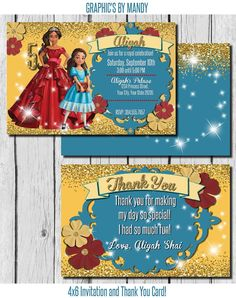 Elena of Avalor Invitation! Front and back design with Thank You Card!