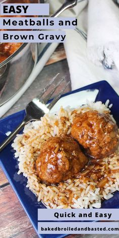 These Meatballs and Brown Gravy is an easy and delicious meal to throw together on any night of the week. It can be served on rice, egg noddles or potatoes. This will sure to be a family favorite with very little effort. Ground Meat Recipes, Beef Recipes, Cooking Recipes, Healthy Recipes, Hamburger Recipes, Meatball Recipes, Yummy Recipes, Healthy Food, Recipies