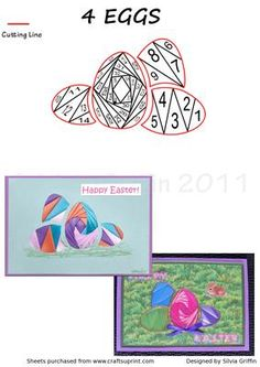 4 Easter Eggs on Craftsuprint designed by Silvia Griffin - Colorful Eggs for all your needs for Easter. Easy cutting makes this a quick card to make. Will upload some matching background sheets like meadows and grasses. - Now available for download!
