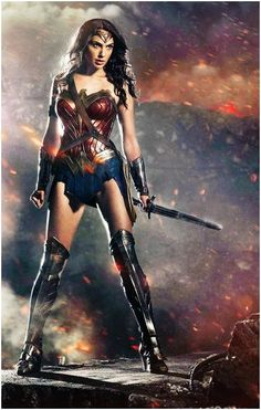 "Wonder Woman has come to life! Director Zack Snyder welcomed his three stars from ""Batman vs. Superman"" -- Ben Affleck, Henry Cavill and Gal Gadot -- onto the stage at Comic-Con on Saturday, and he shared the first look of Wonder Woman in her costume. Superman Wonder Woman, Wonder Woman Film, First Wonder Woman, Gal Gadot Wonder Woman, Wonder Women, Batman Vs Superman, First Batman, Superman Dawn Of Justice, Wonder Woman"