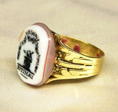 """L'AMITIÉ""  (Friendship)  Antique Men's 18K Gold Signet Seal Ring Motto Intaglio  Solid 18K hallmarked gold   Size 10,0  Seal measures 18mm x 15mm  Weight 9,8 Grams  Excellent condition, seal is intact, slighly rubbed on upper left, wax remains inside ring. $330 #intaglio"