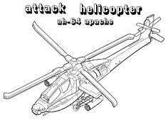 Apache Attack Helicopters Coloring Pages For Kids Printable