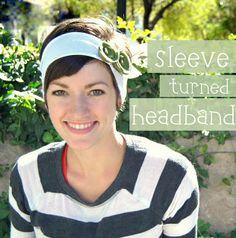 easy diy headband from a t-shirt sleeve.