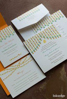 Marigolds and Weddings! Wedding Card Sample, Indian Wedding Invitation Cards, Hindu Wedding Cards, Creative Wedding Invitations, Wedding Invitations Online, Floral Invitation, Custom Invitations, Wedding Stationery, Wedding Logos