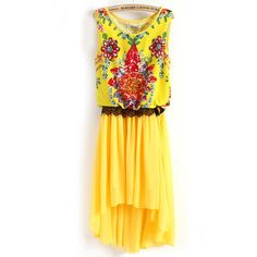 Yellow Sleeveless Gemstone Print Lace High Low Dress ($33) found on Polyvore