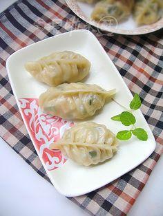 韭菜豆干蒸饺的做法