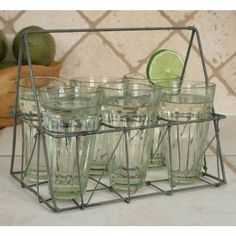 Galvanized Wire Caddy with Six Glasses comes with six of our 6-ounce glasses. Carry the caddy easily to parties and picnics. The caddy is finished in a galvanized finish for a rustic look.
