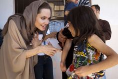 #UNHCR Special Envoy Angelina Jolie meets today with a young Syrian refugee in the Bekaa Valley, #Lebanon. UNHCR/J.Tanner