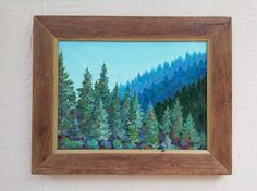 Pines In The Pecos, original scenic landscape painting, recycled wood frame, colorful, art, southwest painting, painting, pine trees.