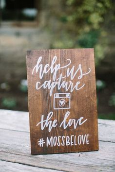 "Modern calligraphy wedding Instagram hashtag sign idea - ""Help us Capture the Love"" - rustic chic calligraphy sign {Lovers of Love Photography}"