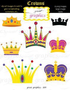 Crown Clipart, Digital Crown, Clip Art Crown, Crown Clip Art, Mardi Gras Clip Art, Clipart Crown, Instant Download. $5.00, via Etsy.