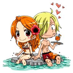 One Piece, Straw Hat Pirates, Nami, Sanji